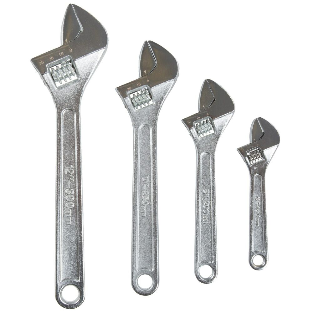 Stalwart 4 Piece Adjustable Wrench Set With Storage Pouch