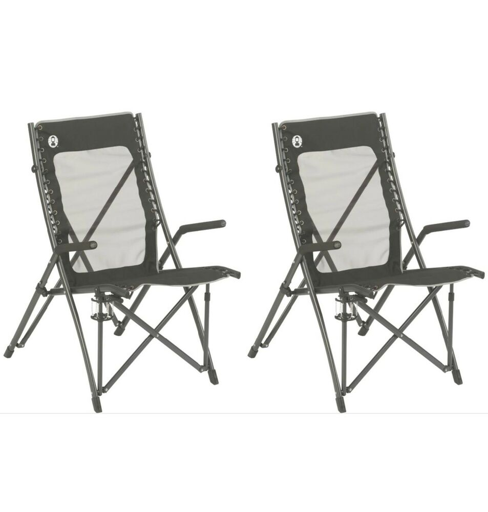 Details about (2) COLEMAN ComfortSmart Suspension C&ing Folding Chairs w/ Mesh Back u0026 Bag  sc 1 st  eBay & 2) COLEMAN ComfortSmart Suspension Camping Folding Chairs w/ Mesh ...