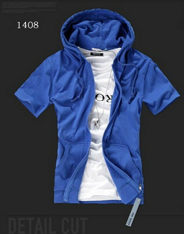 Summer Men's Fashion Slim Fit Short Sleeve Hooded Shirt ...