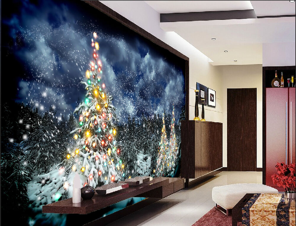 3d christmas snowy 1 wallpaper murals wall print decal for 3d wallpaper for walls uk