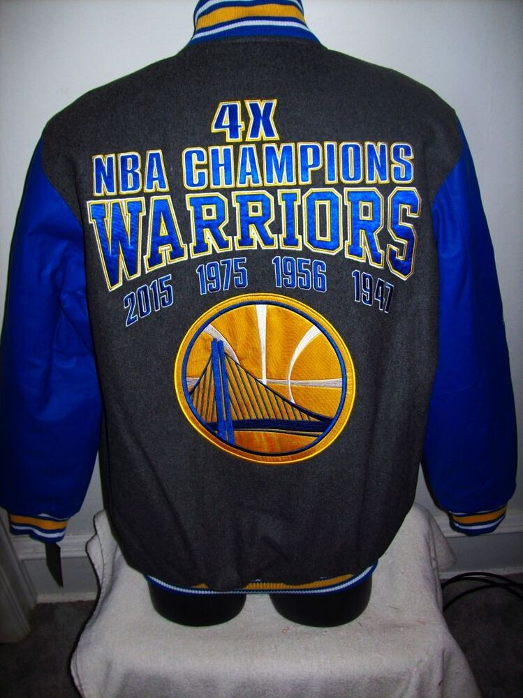 GOLDEN STATE WARRIORS NBA 4 TIME Championship Wool & Leather Jacket S M L XL | eBay