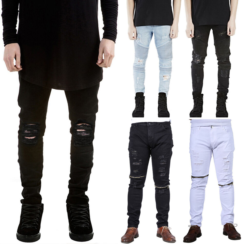 Fashion Mens Designed Straight Slim Fit Biker Jeans Pants Skinny Denim Trousers Ebay