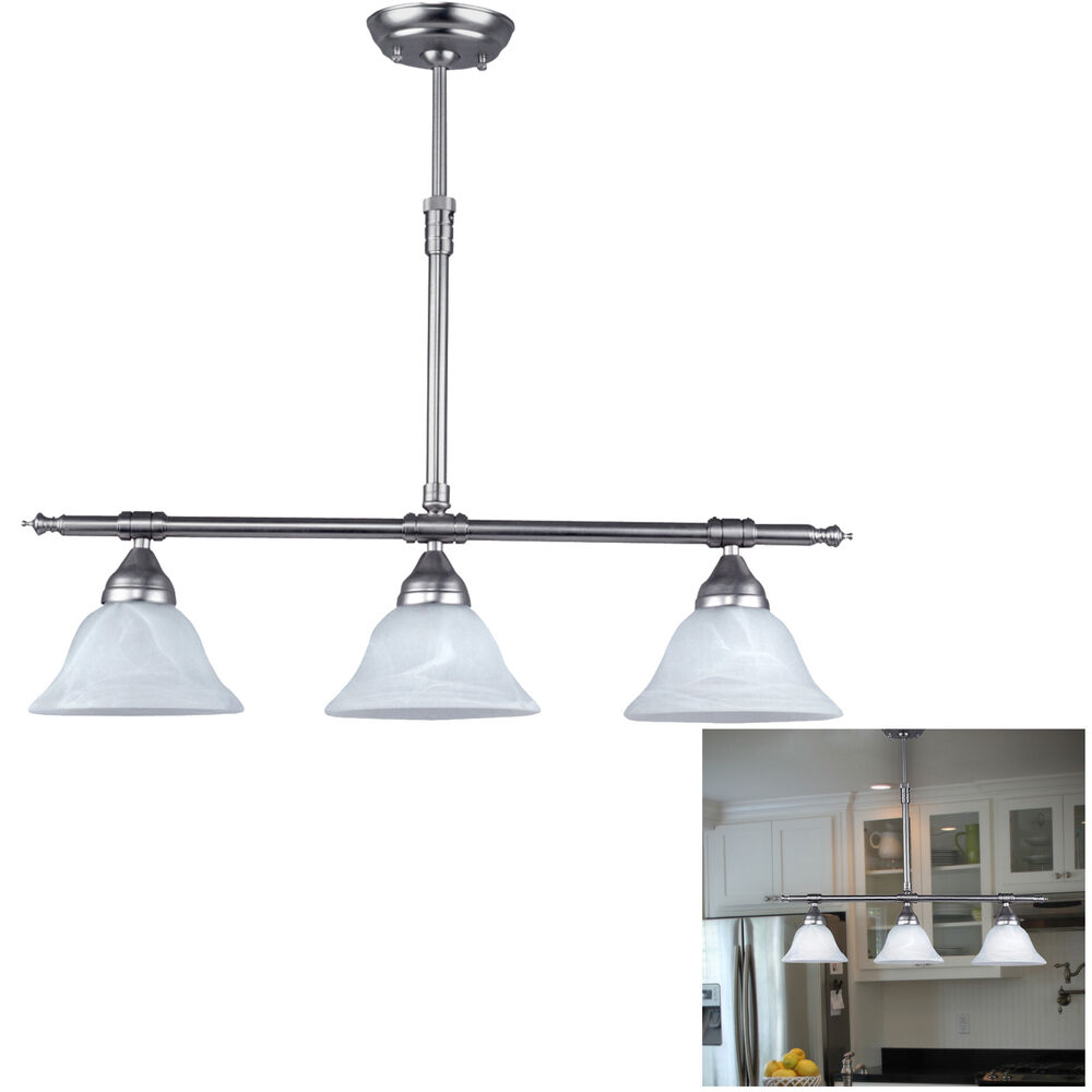 Brushed nickel kitchen island pendant light fixture dining for Island kitchen lighting fixtures