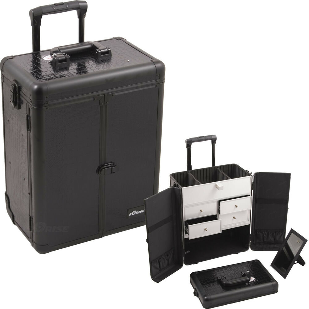 Professional Rolling Makeup Case 2 Wheels 4 Drawers