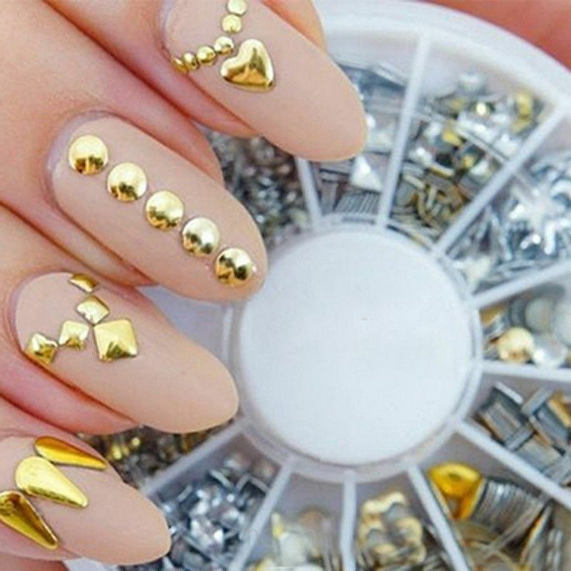 Trendy Metallic Punk Rivet Studs Nail Tips Gold Nail Art Decoration