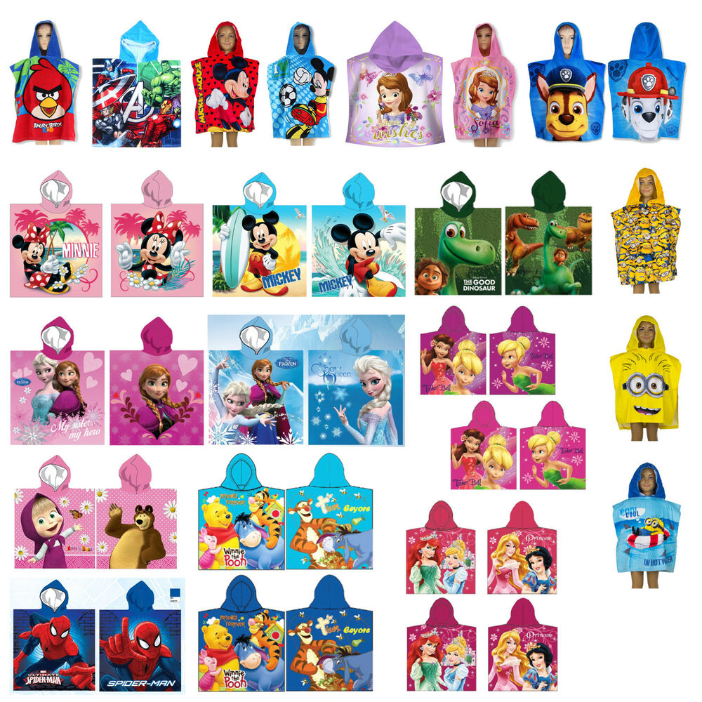 disney kinder poncho strandtuch handtuch badetuch badelaken bade poncho neu ebay. Black Bedroom Furniture Sets. Home Design Ideas