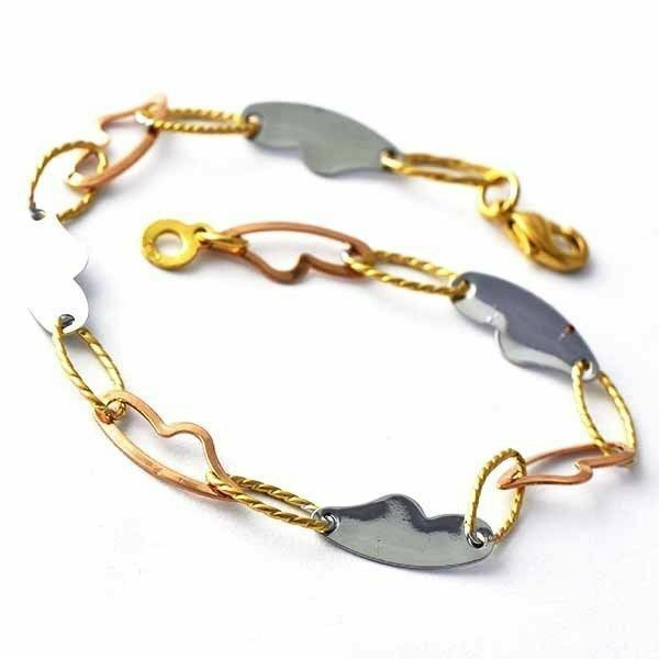 Gold Link Bracelet Womens: Chic Heart Type Womens Gold Filled/Rose /Sterling Silver
