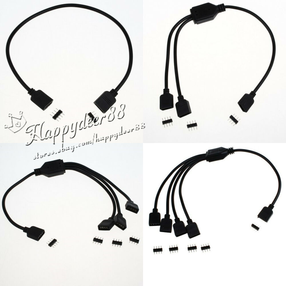4 pin flexible led connector cable splitter for smd rgb 3528 5050 strip light