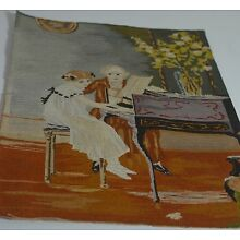 VERY FINE ANTIQUE FRENCH SILK TAPESTRY WITH PIANO TEACHER AND STUDENT RR594