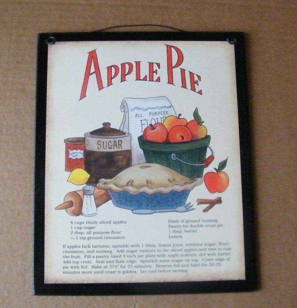 Primitive Country Kitchen APPLE PIE Recipe Wooden Decor Sign EBay