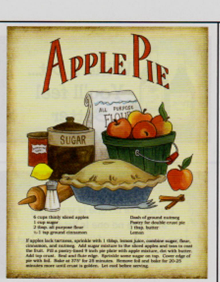 8x10 apple pie recipe country kitchen decor unframed for 8x10 kitchen designs