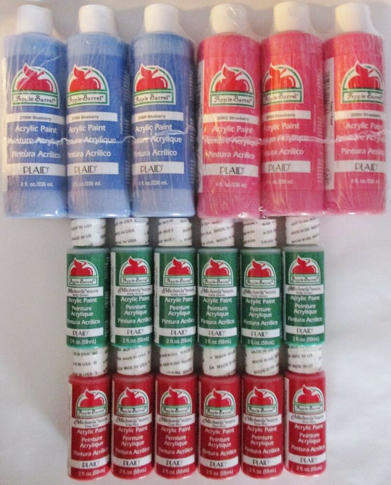 Acrylic craft paints lot blue pink red green 72oz apple for Acrylic paint for wood crafts