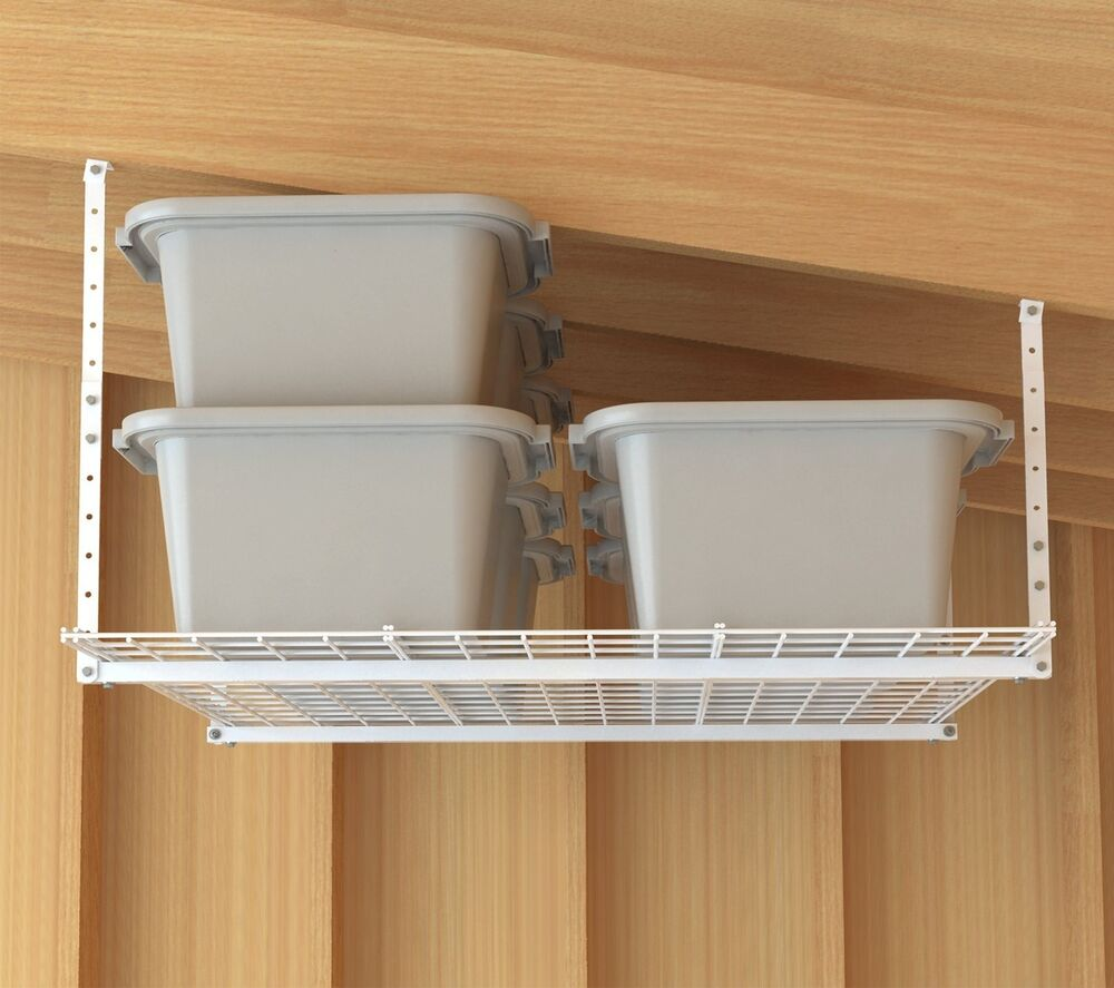 Garage Organization Shelving: Storage Shelf Ceiling Garage Overhead Wire Raises Rack
