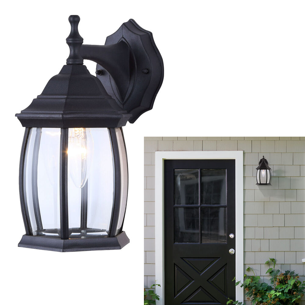 Wall Lantern Light Fixture : Outdoor Exterior Lantern Light Fixture Wall Mount Sconce, Textured Black eBay