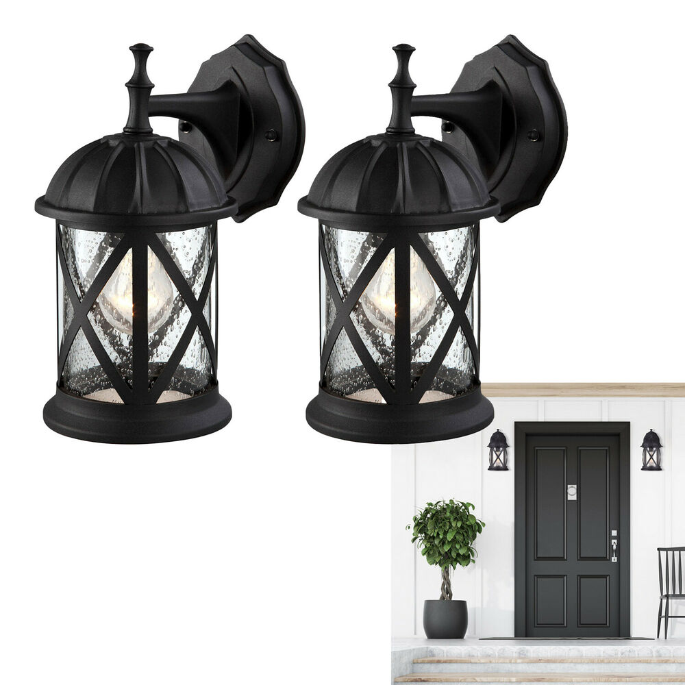 Porch Light In: Outdoor Exterior Wall Lantern Light Fixture Sconce Twin