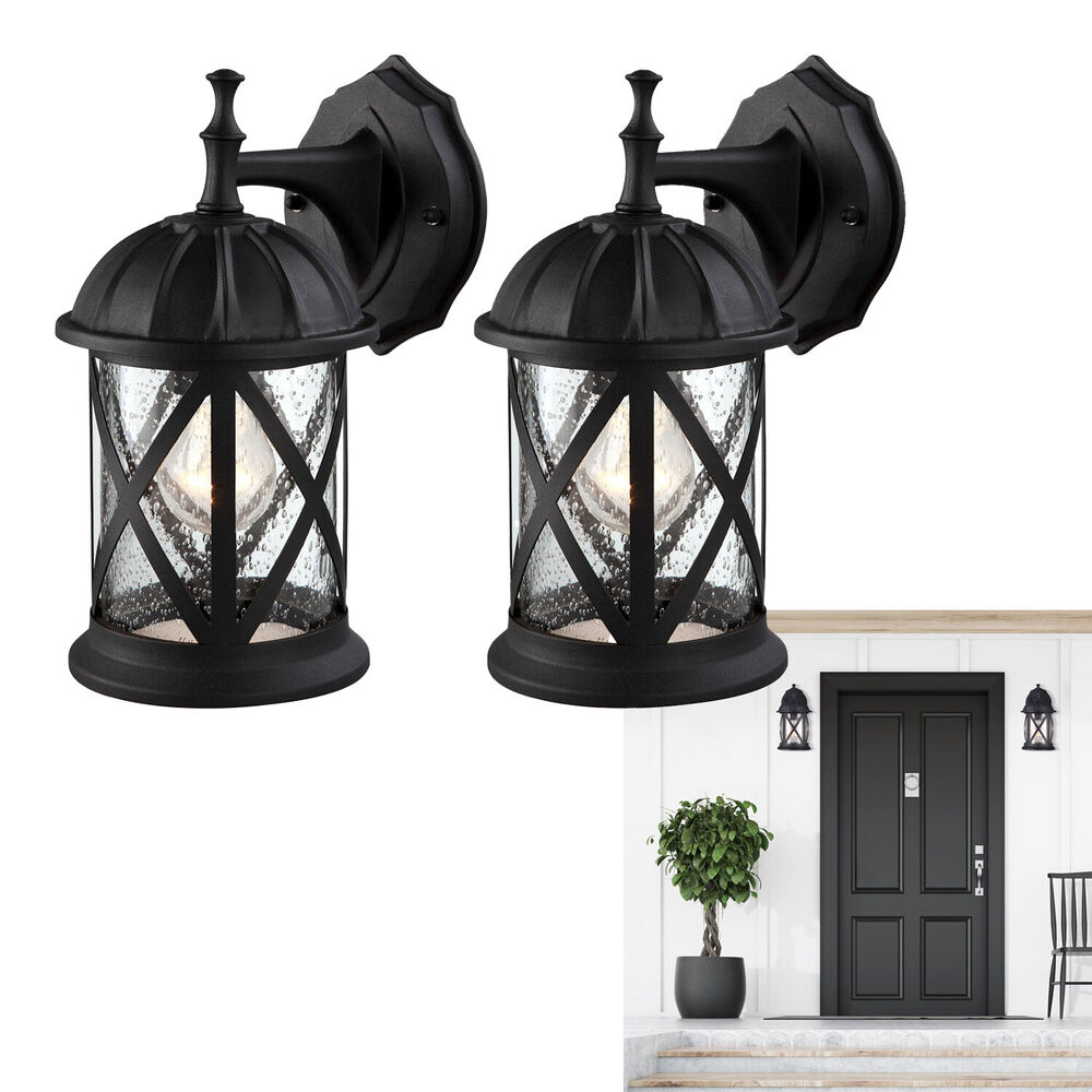 Outdoor Exterior Wall Lantern Light Fixture Sconce Twin Pack, Matte Black eBay