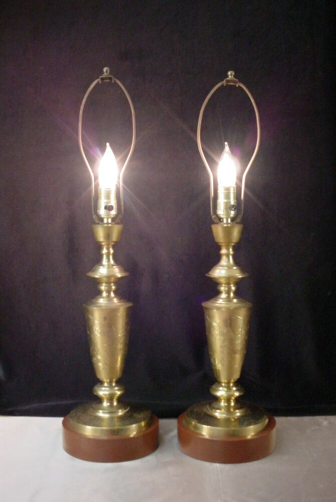 Pair Vintage Brass Table Lamps Chinese Design Mid Century
