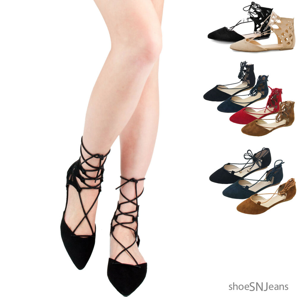 New Women Casual Fashion Pointy Toe Wrap Lace Up Flats ...