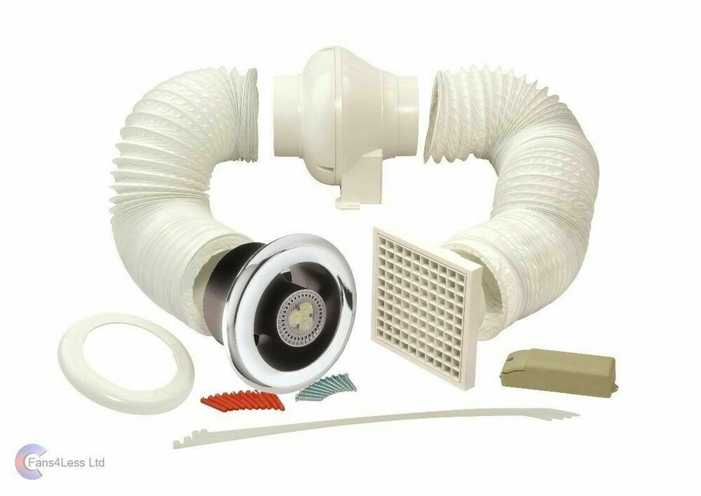 Manrose complete bathroom shower inline light led extractor centrifugal fan kit ebay for In line centrifugal bathroom fan