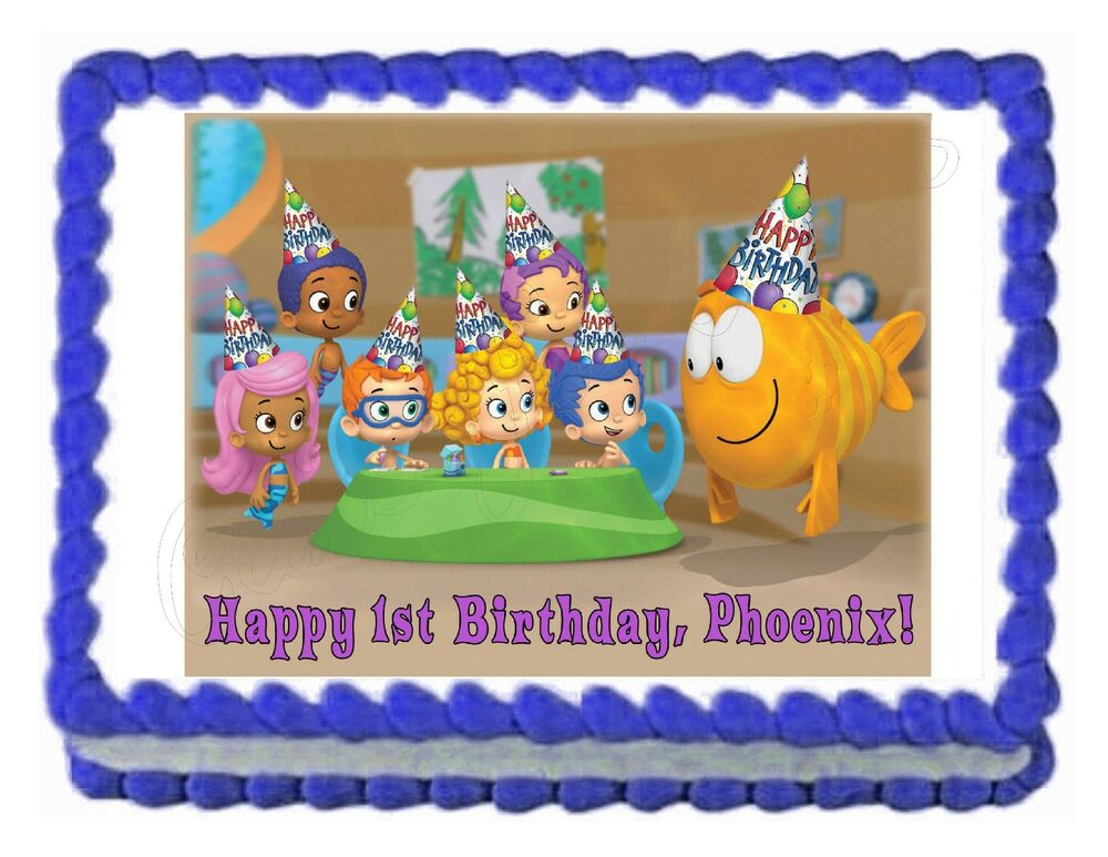 Bubble guppies edible cake image party decoration topper for How to make edible cake decorations at home