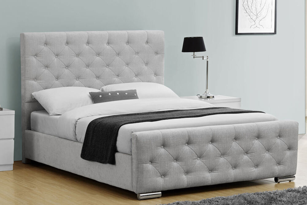Silver Grey Fabric Upholstered Bed Frame Double King Size