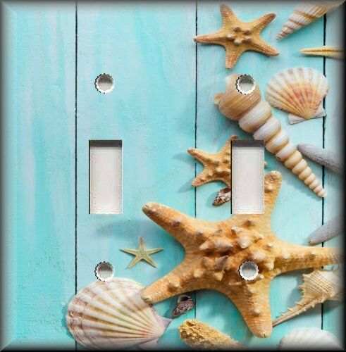 Beach House Decor Items: Beach Shells Collection Wood Blue