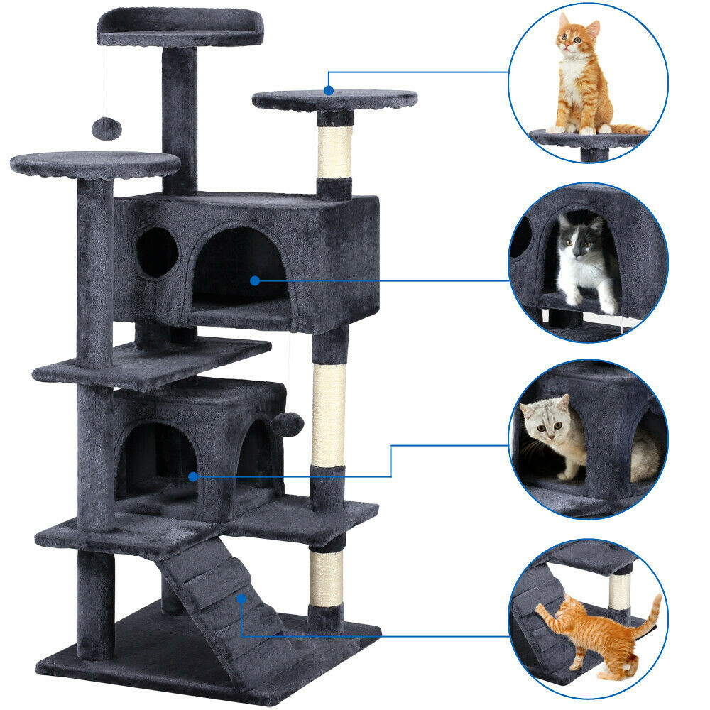 new 52 cat tree tower condo furniture scratching post pet. Black Bedroom Furniture Sets. Home Design Ideas