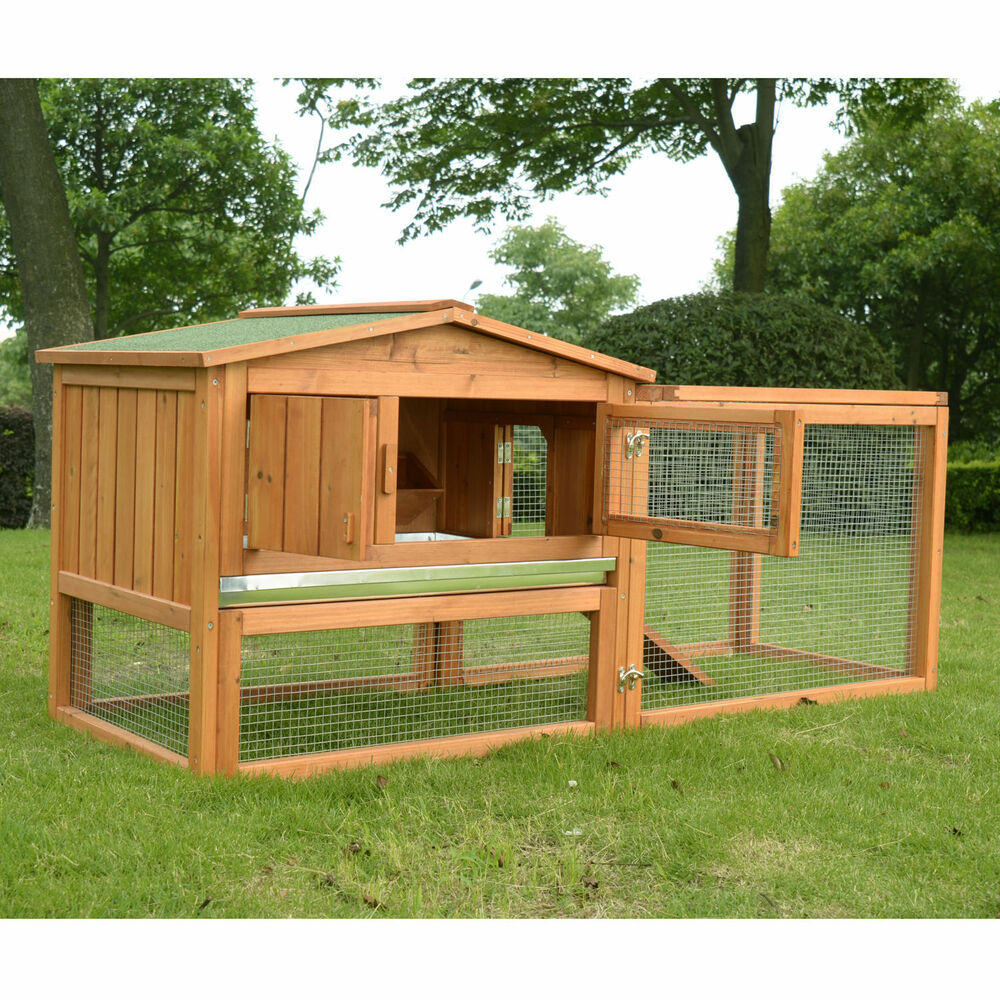 Pawhut wooden small animal house rabbit hutch bunny cage w for Rabbit house images