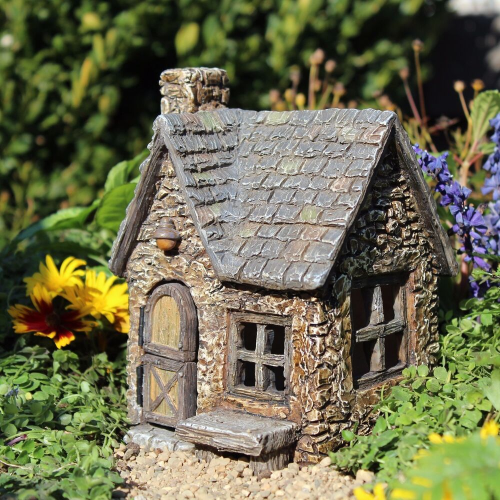 Miniature peddler s cottage w hinged double door 559 fairy for Miniature fairy garden doors