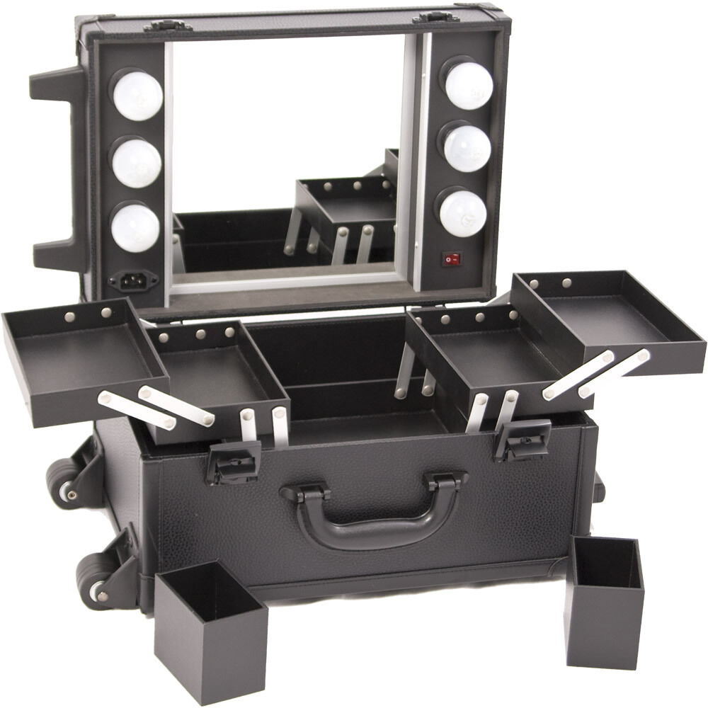Compact Lighted Makeup Station Wheeled Cosmetic Artist