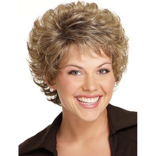 Blonde Mixed Brown Shaggy Curly Capless Stunning Short