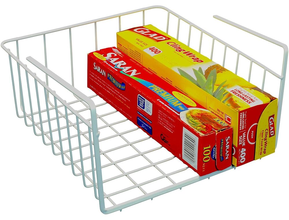 under shelf basket wrap holder rack kitchen cabinet pantry