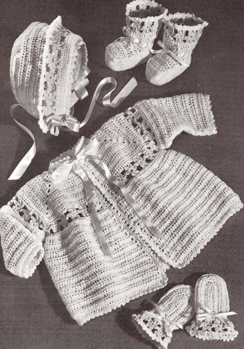 Vintage Crochet Pattern To Make Baby Sacque Bonnet Booties