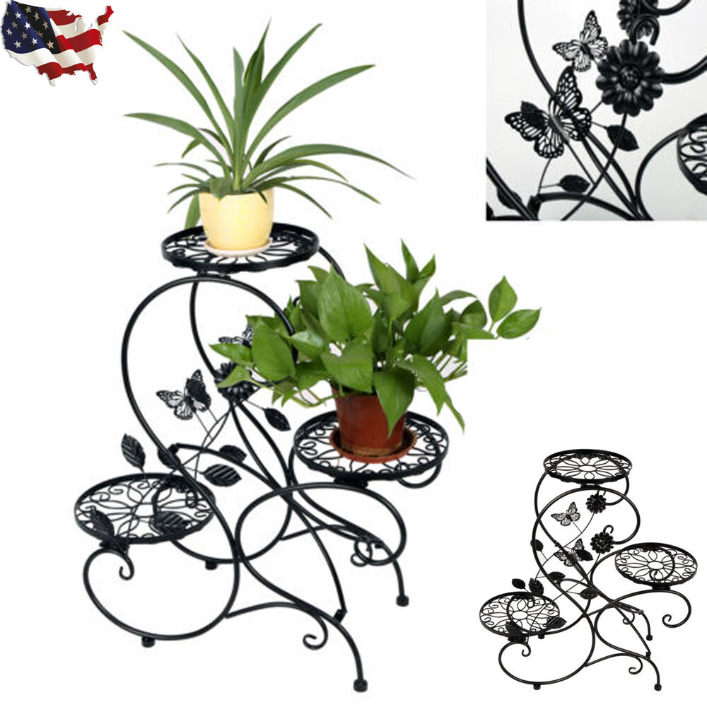 3 tier metal plant stand indoor decorative planter holder. Black Bedroom Furniture Sets. Home Design Ideas