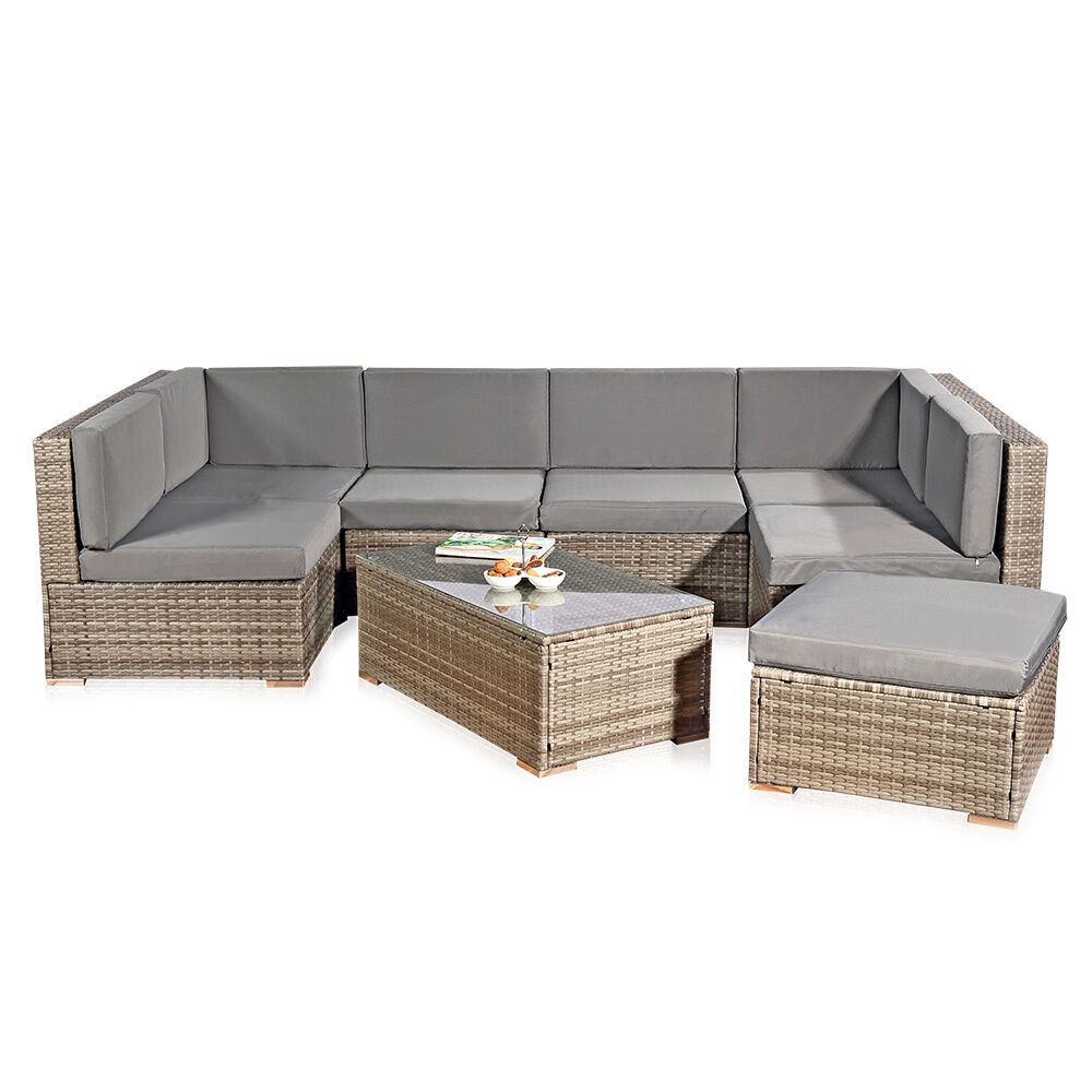 xxl rattanm bel gartenset grau aus polyrattan lounge gartenm bel sitzgruppe ebay. Black Bedroom Furniture Sets. Home Design Ideas