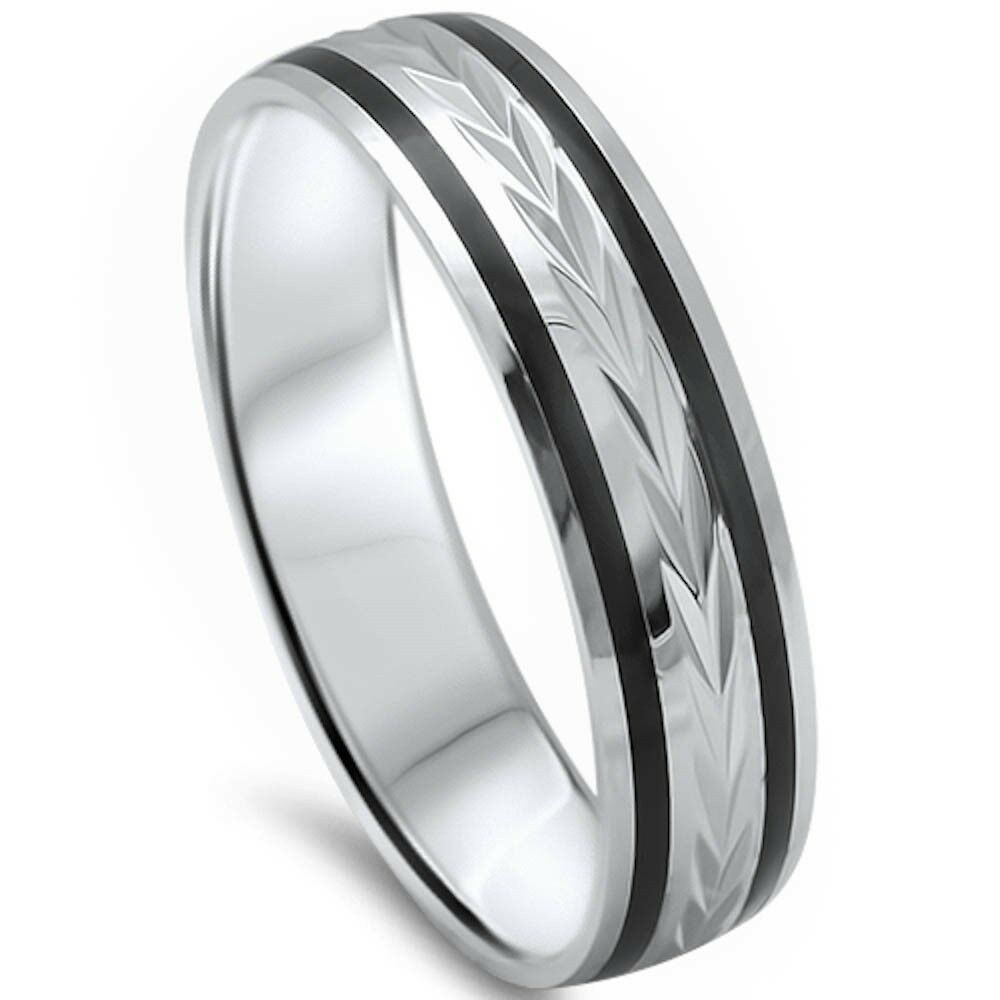 wedding ring mens men 5mm black onyx comfort fit 925 sterling silver 9967