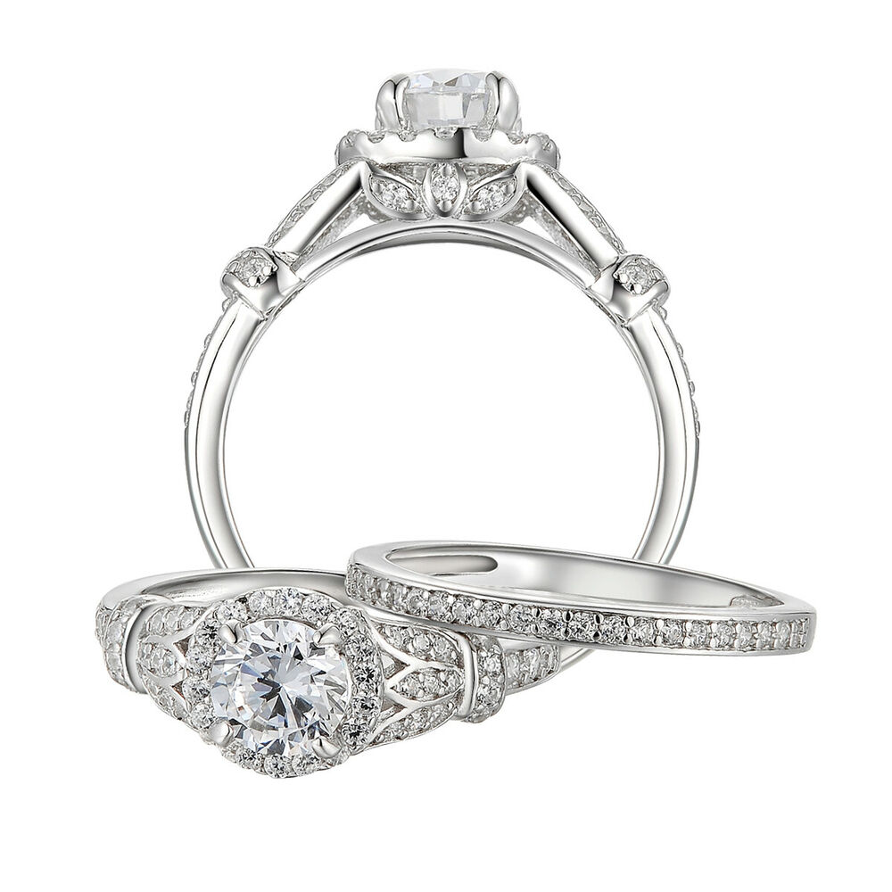 cz wedding ring sets 1 7ct cut cz 925 sterling silver engagement wedding 3280