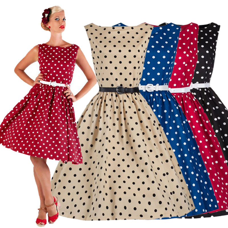 Retro Women Polka Dot Swing 1950s Housewife Pinup Vintage