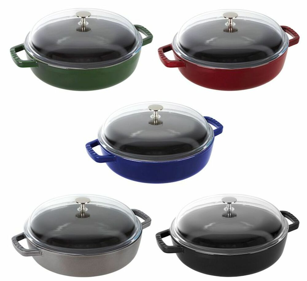 staub 4 qt cast iron universal pan cooking pot with lid 5 color choice new ebay. Black Bedroom Furniture Sets. Home Design Ideas