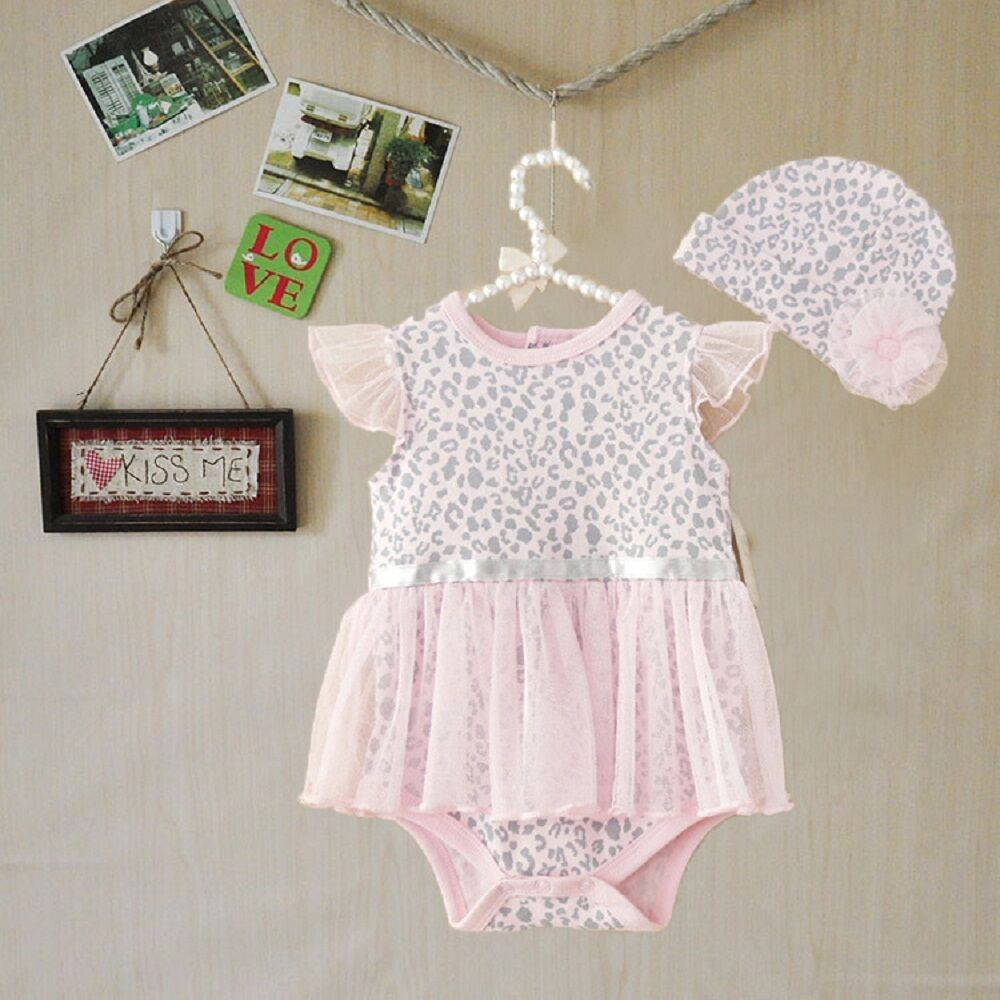 2pcs girl infant baby newborn cap hat romper bodysuit tutu clothes set