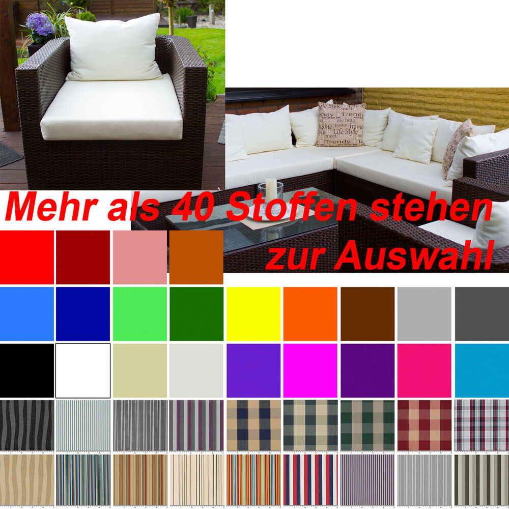 gartenm bel auflagen polster sitzkissen rattan lounge stuhl auf ma stegsaum ebay. Black Bedroom Furniture Sets. Home Design Ideas