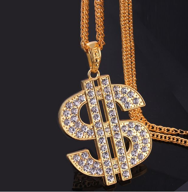 New 18k gold plated rhinestone dollar sign pendant chain for Dollar jewelry and more