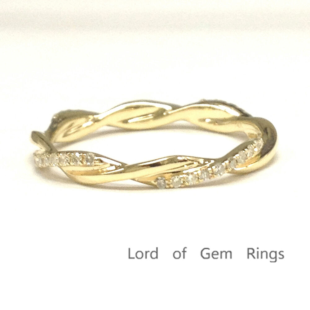 Full Bands: Twist Unique Diamonds Engagement Wedding Band 14K Yellow