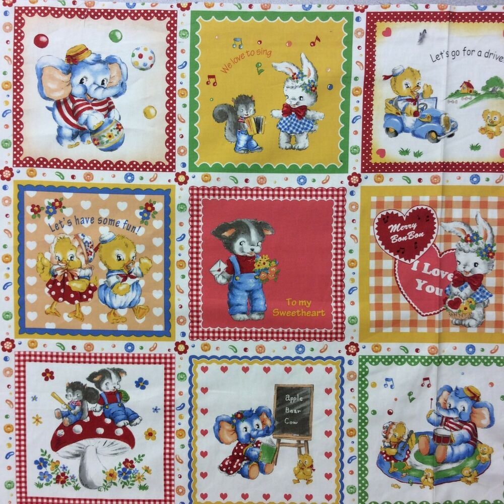 Pnl82 cute animals playing games children kids canvas for Kids cotton fabric