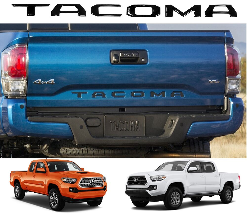 piano black tailgate letters inserts for 2016 2017 toyota. Black Bedroom Furniture Sets. Home Design Ideas
