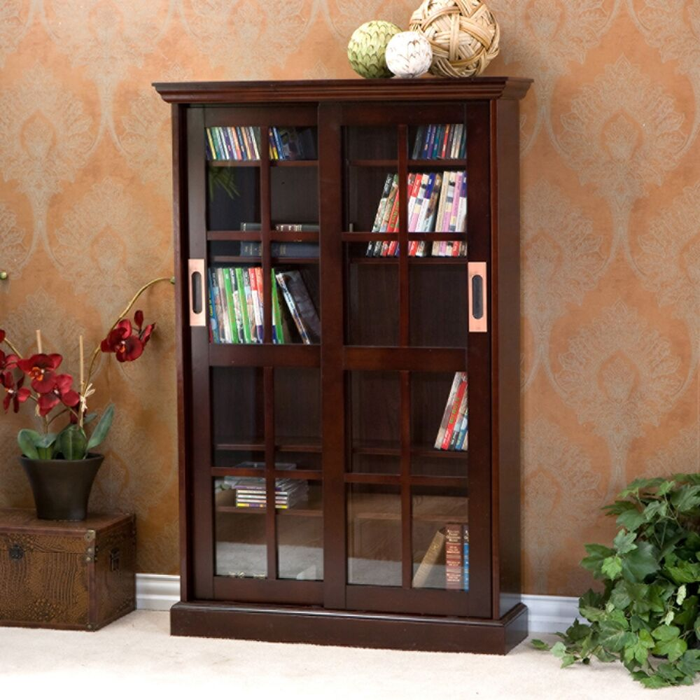 Media Furniture Cabinets: Emerson Sliding Door Media Storage DVD Cabinet Glass