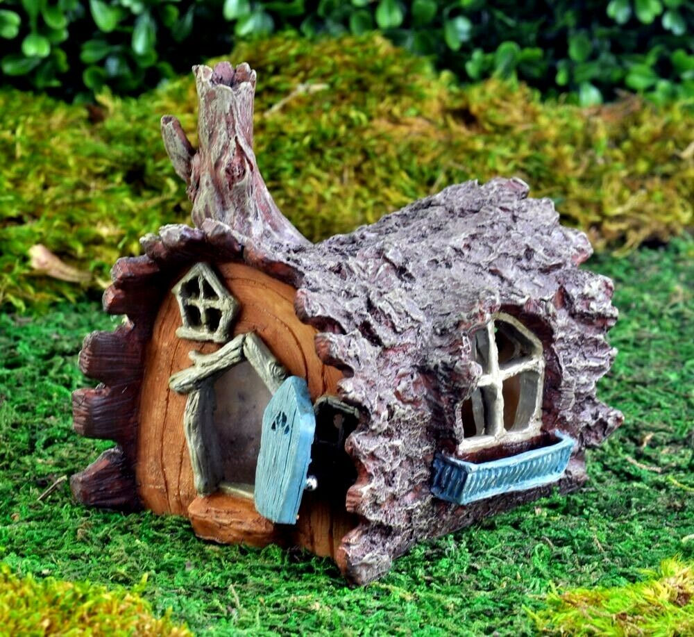 Gnome Garden: Miniature Fairy Garden Log Home DOOR OPENS Gnome Hobbit