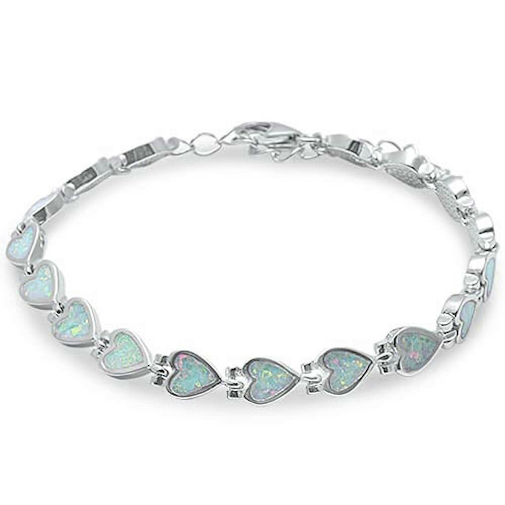 Bracelet With Hearts: White Fire Opal Heart .925 Sterling Silver Bracelet