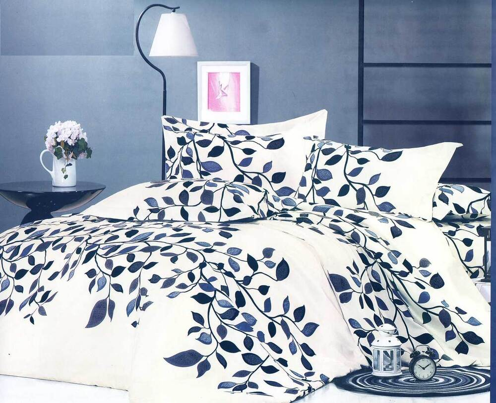 Navy Blue Leaf Ivory Bedding Quilt Cover Set King