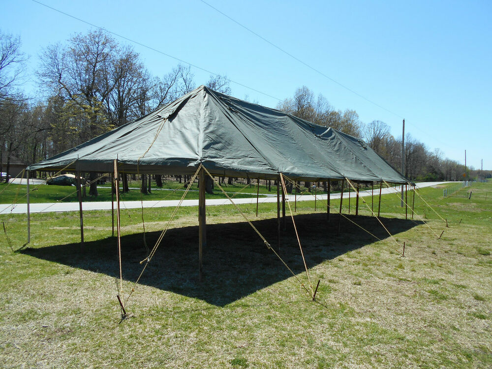 Military Tent Canopy Gp Large Size 18x52 Vinyl Canvas Army